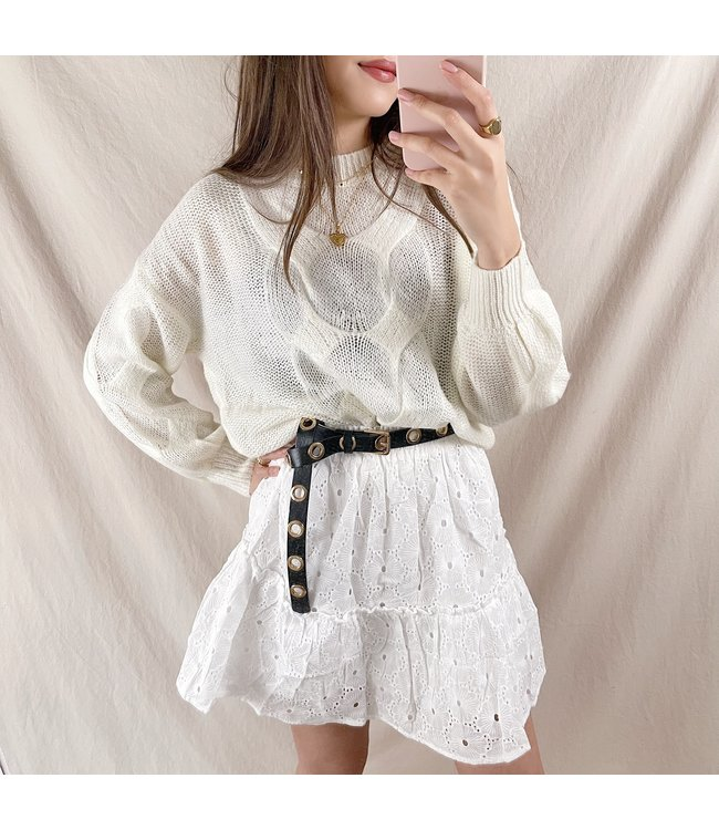 Miki Embroidered Skirt / White