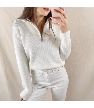 Kuma Ribbed Zip Sweater / White