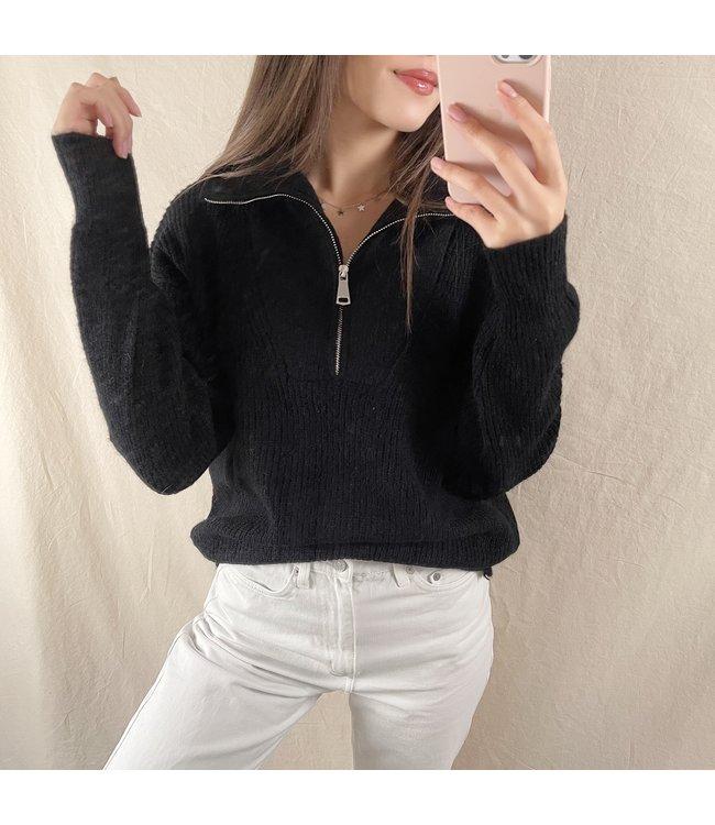 Kuma Ribbed Zip Sweater / Black
