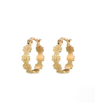 Gold Floral Hoop Earrings