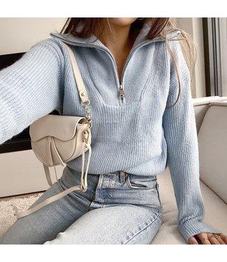 Kuma Ribbed Zip Sweater / Blue