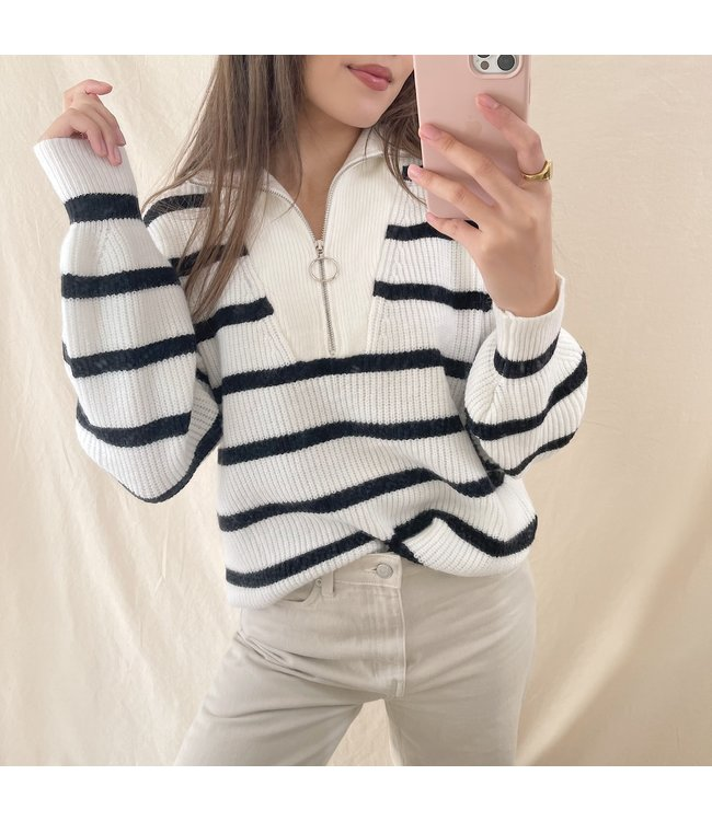 Rinoa Striped Zip Sweater / White