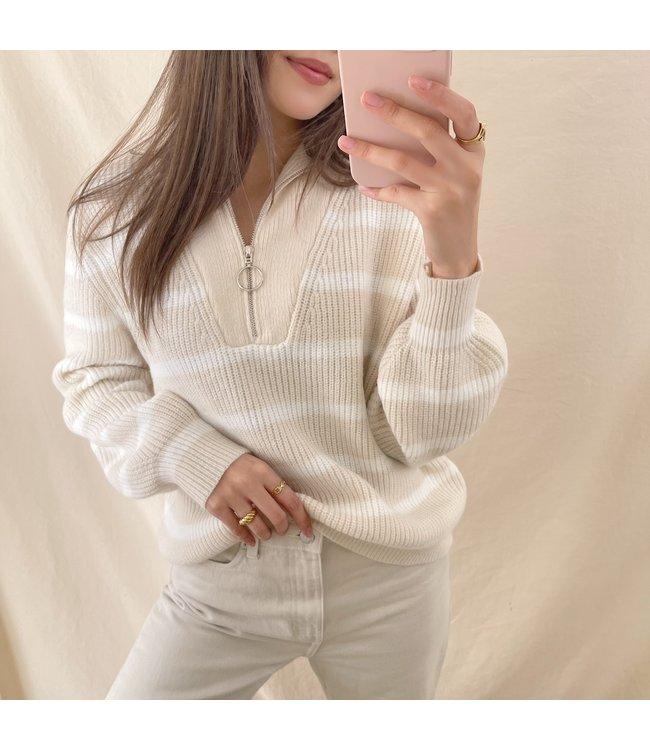 Rinoa Striped Zip Sweater / Beige