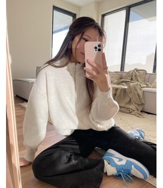 Aeola Glitter Zip Sweater / White