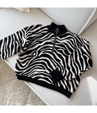 Zilla Zebra Zip Sweater / Black