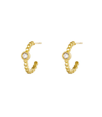 Gold Dotted Diamond Earrings
