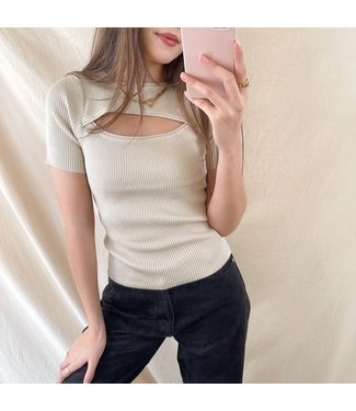 Kira Cut Out Top / Beige