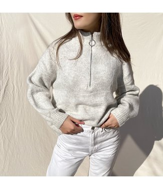 Aeola Glitter Zip Sweater / Grey