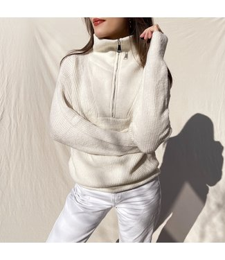 Kuma Ribbed Zip Sweater / Beige