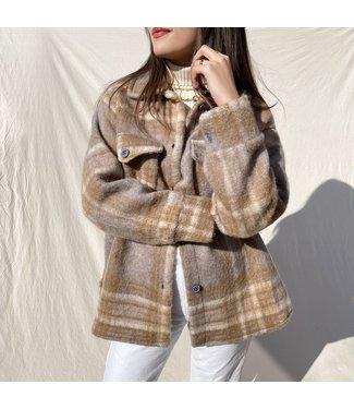 Izuna Checkered Wool Jacket / Grey & Brown