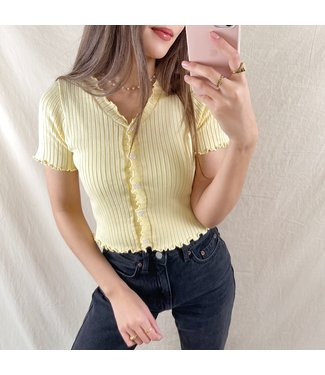 Tami Button Crop Top / Yellow