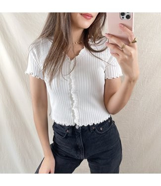 Tami Button Crop Top / White