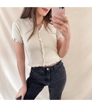 Tami Button Crop Top / Beige