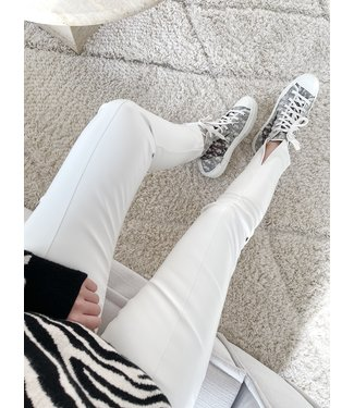 Misha Faux Leather Split Trousers / White