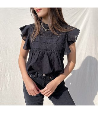 Sora Embroidered Top / Black