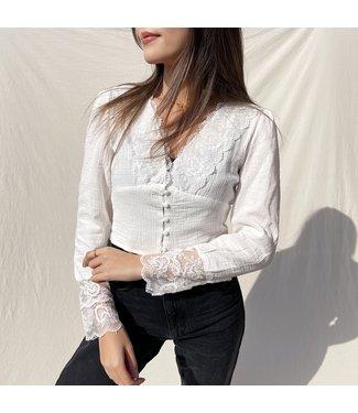 Nini Lace Crop Top / White