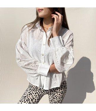 Izumi Embroidered Blouse / White