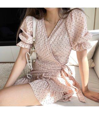 Yumea Dots Wrap Dress / Beige
