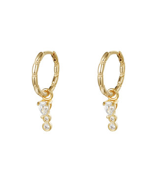 Gold Sparkle Drops Earrings / White