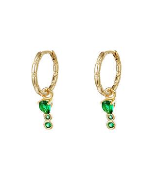 Gold Sparkle Drops Earrings / Green