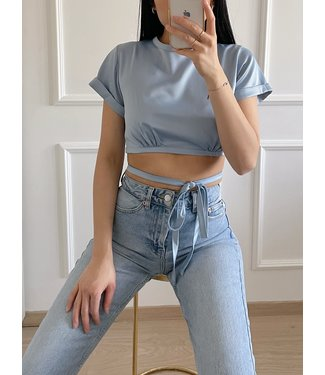 Mallory Satin Crop Top / Blue