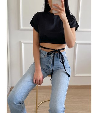 Mallory Satin Crop Top / Black