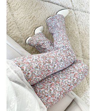 Mai Flower Flared Leggings / Blue