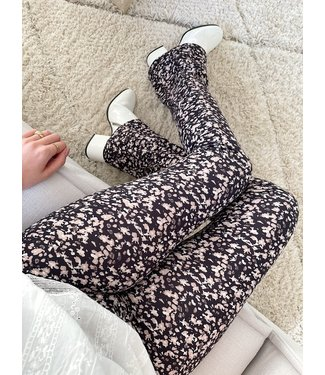 Mai Flower Flared Leggings / Black