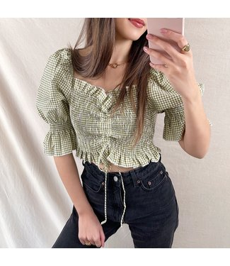 Clarina Vichy Crop Top / Green