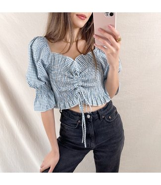 Clarina Vichy Crop Top / Blue