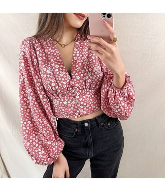 Avena Flower Crop Top / Dark Rose