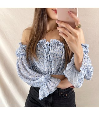 Azami Flower Off Shoulder Top / Blue