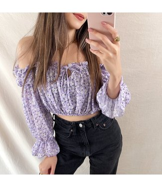 Azami Flower Off Shoulder Top / Lilac
