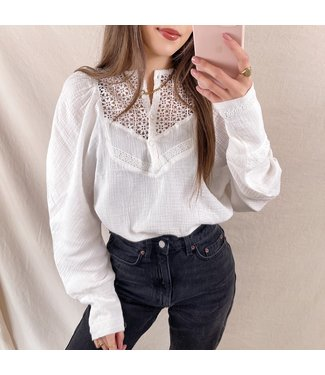 Ellie Puff Sleeve Blouse / White