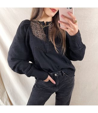 Ellie Puff Sleeve Blouse / Black