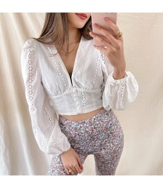 Joann Embroidered Crop Top / White