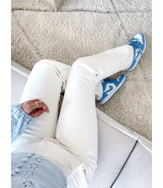 Khai Faux Leather Flared Trousers / White