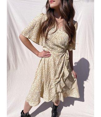 Perla Flower Wrap Midi Dress / Beige