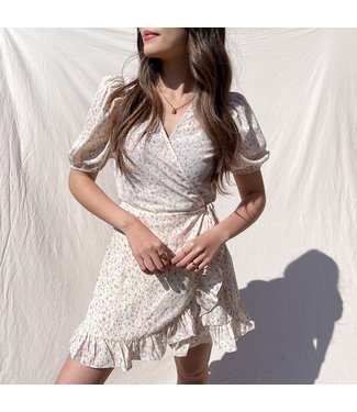 Lotta Print Wrap Dress / Light Pink