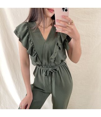 Lucca Ruffle Jumpsuit / Army