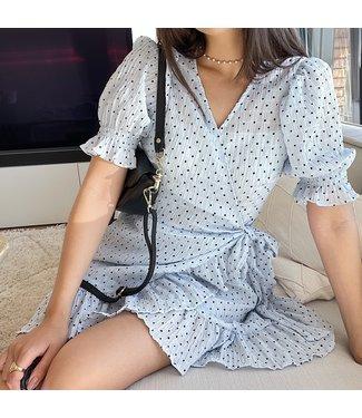 Yumea Dots Wrap Dress / Blue