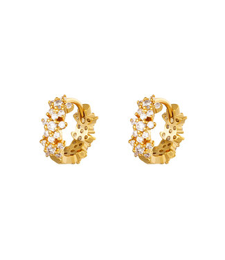 Gold Flower Sparkle Hoop Earrings