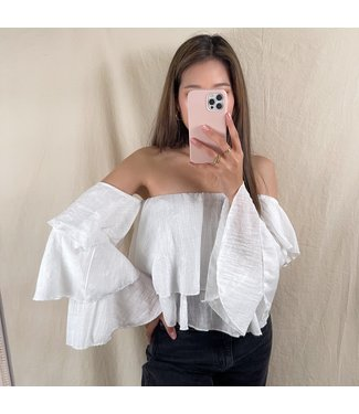 Yuina Layered Off Shoulder Top / White