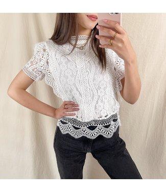 Louva Lace Top / White