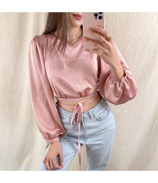 Fleurine Satin Crop Top / Pink