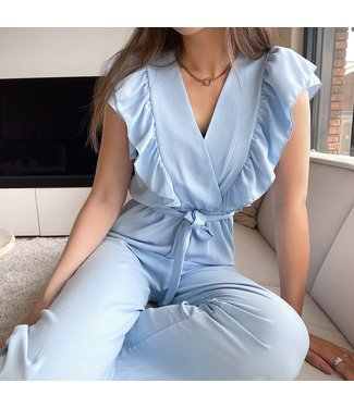 Lucca Ruffle Jumpsuit / Light Blue