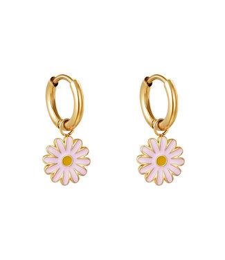 Gold Sweet Daisy Earrings / Pink