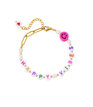Happy Vibes Pearl Beads Bracelet