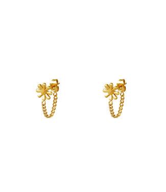 Gold Flower Chain Earrings