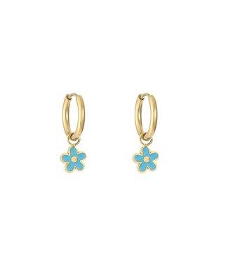 Gold Spring Flower Earrings / Blue